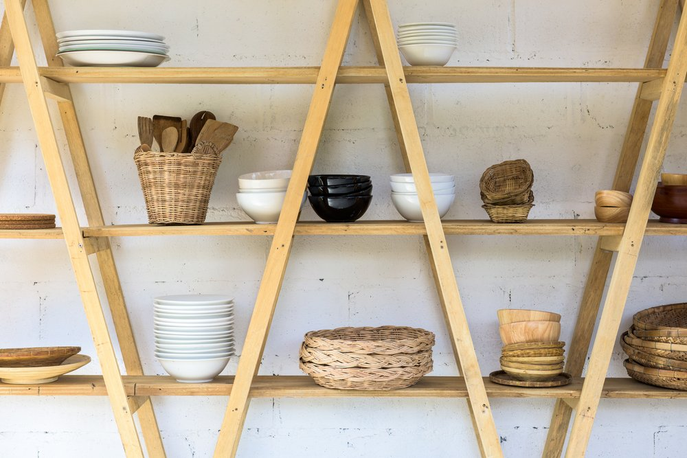 custom wood shelf for kitchen