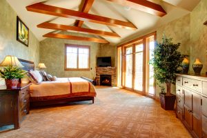 wood ceiling beams in bedroom