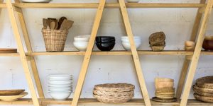 custom wood shelf for kitchen